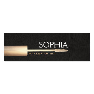 Makeup Artist Gold Mascara On Faux Black Linen Double-Sided Mini Business Cards (Pack Of 20)