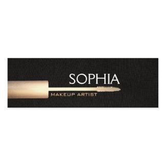 Makeup Artist Gold Mascara On Faux Black Linen Mini Business Card