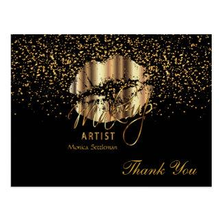 Makeup Artist  Gold Metallic Lips on Black Postcard