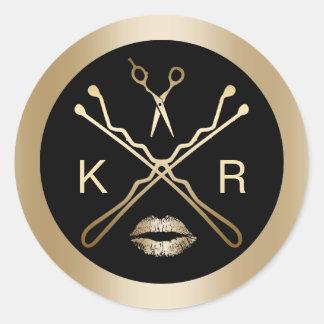 Makeup Artist Gold Scissor Lips Initials Salon Classic Round Sticker