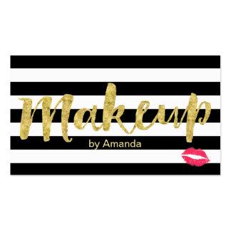 Makeup Artist Gold Script Red Lips Modern Stripes Business Card