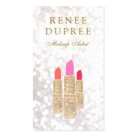 Makeup Artist Gold Sequin Lipstick Bokeh Business Card