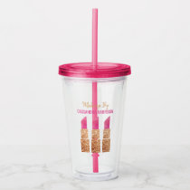 Makeup Artist Gold Sequin Watercolor Beauty Salon Acrylic Tumbler
