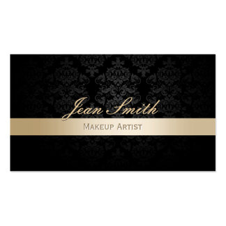 Makeup Artist Gold Striped Damask Appointment Business Card