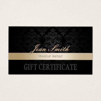 Makeup Artist Gold Striped Damask Gift Certificate