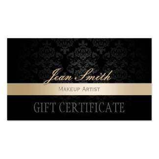 Makeup Artist Gold Striped Damask Gift Certificate Double-Sided Standard Business Cards (Pack Of 100)