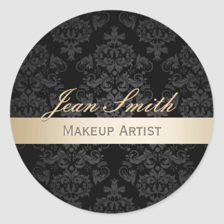 Makeup Artist Gold Striped Elegant Damask Salon Classic Round Sticker