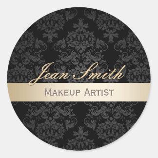 Makeup Artist Gold Striped Elegant Damask Salon Classic Round Sticker