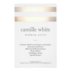 Makeup Artist Gold Stripes Stylish Beauty Salon Flyer at Zazzle