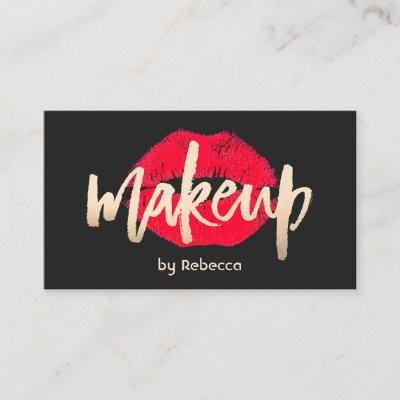 Red Lips Makeup Artist Plain Black Business Card