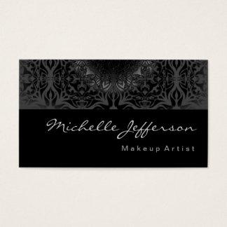 Makeup Artist Grey Pattern Black Business Card
