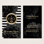 Makeup Artist & Hair Salon 3 Initial Monogram Business Card