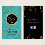 Makeup Artist Hair Salon Gold & Turquoise Marble Business Card