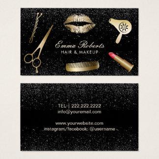 Makeup Artist Hair Salon Modern Black Glitter Business Card