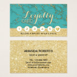 Makeup Artist Hair Salon Turquoise Gold Loyalty Business Card