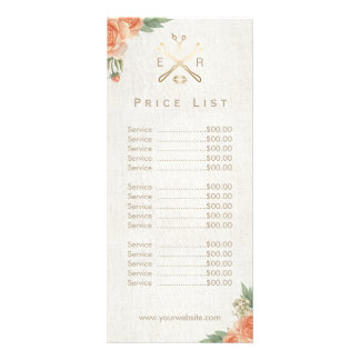 Makeup Artist Hair Salon Vintage Floral Price List Rack Card