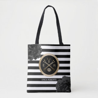 Makeup Artist Hair Stylist Black Floral Stripes Tote Bag