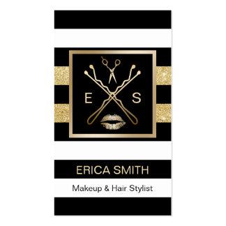 Makeup Artist Hair Stylist Black & Gold Stripes Business Card