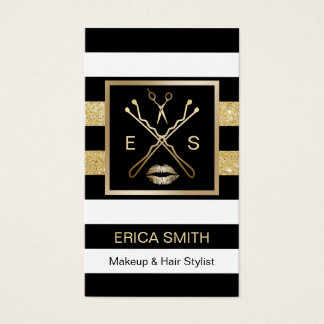 Makeup Artist Hair Stylist Black & Gold Stripes Business Card