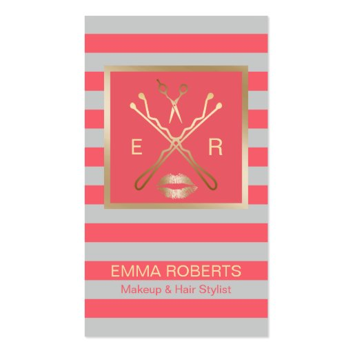Makeup artist hair stylist coral grey stripes business for Hair and makeup business cards