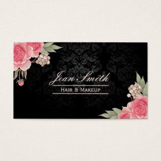 Makeup Artist Hair Stylist Elegant Floral Damask Business Card
