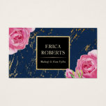 Makeup Artist Hair Stylist Floral Navy Gold Marble Business Card