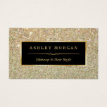 "Makeup Artist Hair Stylist Funky Gold Glitter Business Card<br><div class=""desc"">This design is perfect for Event Planner, Wedding Coordinator, Photography, Interior Designer, Makeup Artist, Massage Therapist, Hair Stylist, Nail Technician, Cosmetologist, Hairdresser, SPA Store, Salon Store, and more. (1) For further customization, please click the &quot;Customize&quot; button and use our design tool to modify this template. All text style, colors, sizes...</div>"