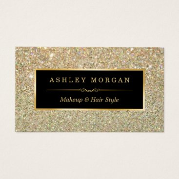 CardHunter Makeup Artist Hair Stylist Funky Gold Glitter Business Card