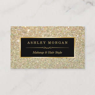 Hair stylist business cards zazzle makeup artist hair stylist funky gold glitter business card reheart Image collections