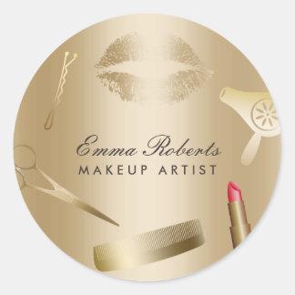 Makeup Artist Hair Stylist Gold Foil Beauty Salon Classic Round Sticker