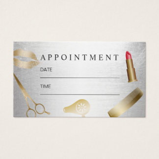 Makeup Artist Hair Stylist Gold Silver Appointment Business Card