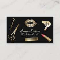 Makeup Artist Hair Stylist Modern Black & Gold Business Card