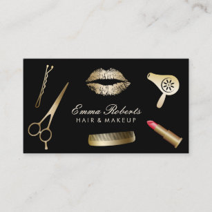 Hair stylist business cards zazzle makeup artist hair stylist modern black gold business card reheart Image collections