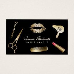 Makeup Artist Hair Stylist Modern Black & Gold Business Card