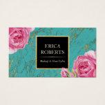 Makeup Artist Hair Stylist Modern Floral Teal Gold Business Card