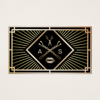 Makeup Artist & Hair Stylist Modern Gold Art Deco Business Card