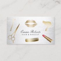 Makeup Artist Hair Stylist Modern Gold & Silver Business Card