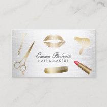 Makeup Artist Hair Stylist Modern Gold & Silver Business Card