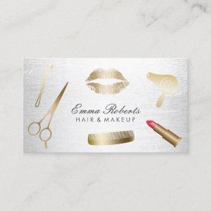 Make up artist business cards zazzle makeup artist hair stylist modern gold silver business card reheart Images