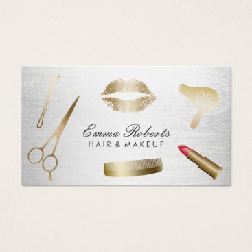 cardfactory Makeup Artist Hair Stylist Modern Gold & Silver Business Card