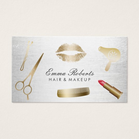Makeup artist hair stylist modern gold silver business for Hair and makeup business cards