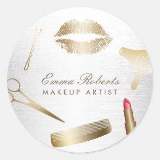 Makeup Artist Hair Stylist Modern Gold & Silver Classic Round Sticker