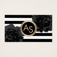 Makeup Artist Hair Stylist Modern Monogram Floral Business Card