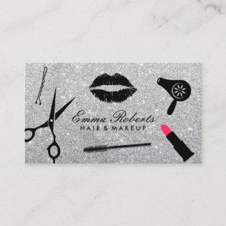 Makeup Artist & Hair Stylist Modern Silver Glitter Business Card