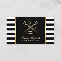Makeup Artist Hair Stylist Modern Stripes Business Card
