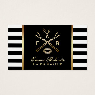 Makeup Artist Hair Stylist Modern Stripes Business Card