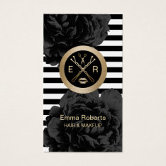 Makeup Artist & Hair Stylist Modern Stripes Floral Business Card at Zazzle