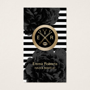 Hairstylist business cards templates zazzle makeup artist hair stylist modern stripes floral business card cheaphphosting