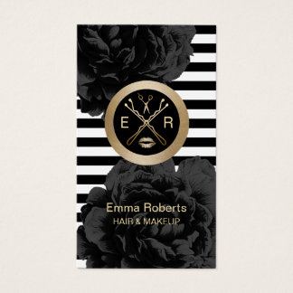 Makeup Artist & Hair Stylist Modern Stripes Floral Business Card