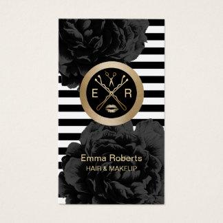 Makeup Artist & Hair Stylist Modern Stripes Floral Business Card